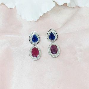 Ruby, Sapphire & Diamond Sterling Silver Earring
